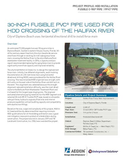 Fusible PVC® pipe used for HDD crossing of the Halifax River | McKim